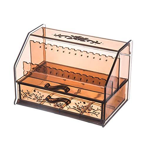 Caja Organizadora de Joyas de Plástico Transparente Elegante Y Creativa Caja de Almacenamiento con Anillo de Pulsera Y Pendientes Adecuada para Mujeres Y Niñas
