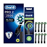 Oral-B Pro 2 2500 CrossAction <span class='highlight'>Electric</span> <span class='highlight'>Toothbrush</span> Rechargeable Powered by Braun, 1 Handle, 2 Modes Including Gum Care, 1 <span class='highlight'>Toothbrush</span> Head, Travel Case, 2-Pin UK Plug, Pack of 8 New CrossAction Refills