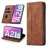 Leaisan Handyhülle für Samsung Galaxy A21S Hülle Premium Leder Flip Klappbare Stoßfeste Magnetische [Standfunktion] [Kartenfächern] Schutzhülle für Samsung Galaxy A21S Tasche - Braun