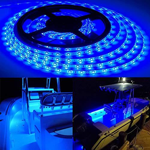 Pontoon Boat Light with Mounting Clips, 16.4 Feet Waterproof Marine LED Flexible Lighting Strip for Yacht Duck Jon Bass Sailboat Kayak Canoes | Deck Light, Accent Light, Courtesy Interior Lights, 12v