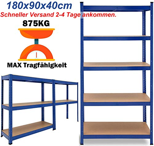 Schwerlastregal Lagerregal Kellerregal Metall Werkstattregal Regal Steckregal MAX. 875kg...