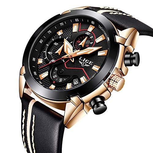LIGE Herren Uhren Fashion Sport Chronograph Schwarz Gold Military Wasserdicht Analoge Quarzuhr mit Leder 9869A