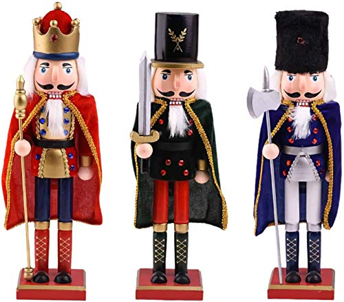 Christmas Nutcracker Soldier Set of 3 - Holiday Wood Nutcracker King Figure Decoration, 15'Large