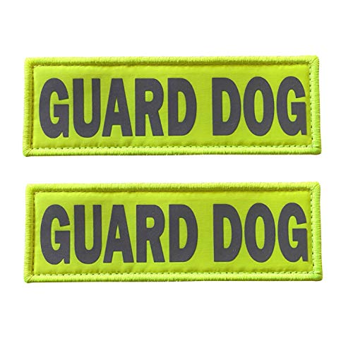 JUJUPUPS Reflective Dog Patches 2 Pack Service Dog ,in Training, DO NOT PET Tags with Hook and Loop Patches for Vests and Harnesses (5x1.5 inch, Guard Dog)
