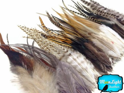 Moonlight Feather, Feather Hair Extensions - Short Natural Tone Rooster Hair Extension Feathers - 100 Pieces