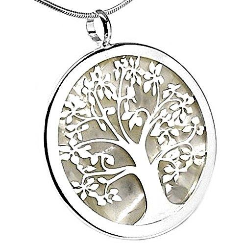925m Silber Anhänger Gesetz Bäume Perlglanz weißer Lattenzaun Leben Acetat 40mm. [AB2692]