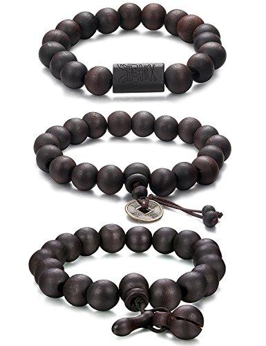 Jstyle 3 PCS 11MM Bracciale Buddha Tibetani Braccialetto Perline Elastico da Uomo Donna