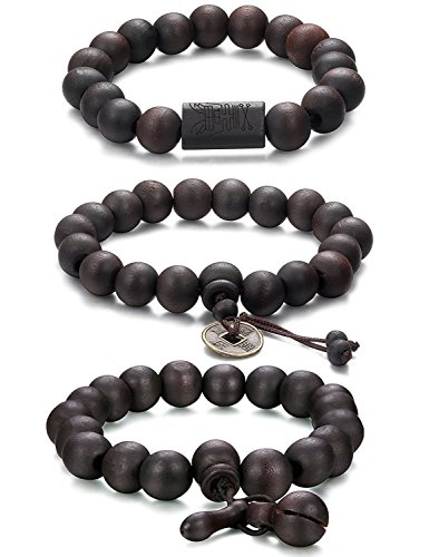 Jstyle 3 Pcs 11mm Madera Brazalete de Cuentas para los Hombres Mujeres Tibetano Buddhist Prayer Link Cool