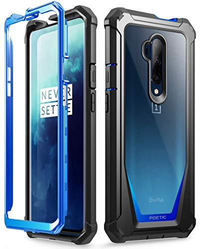 Poetic Guardian Series Designed for OnePlus 7T Pro/OnePlus 7 Pro Case, Full-Body Hybrid Shockproof Bumper Cover with Built-in-Screen Protector, Blue/Clear