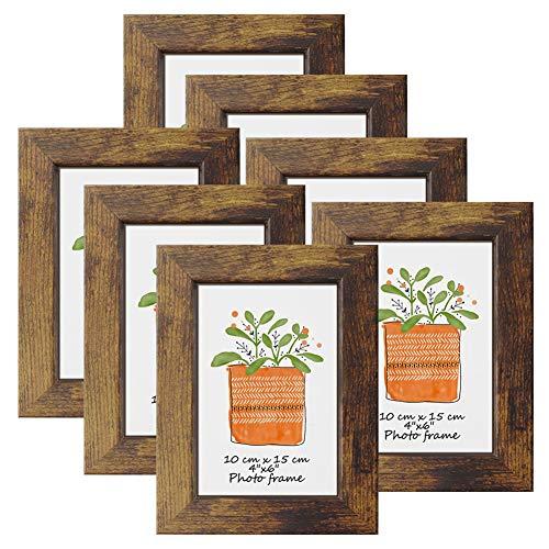 PETAFLOP Marcos de Fotos Multiples de 10x15 cm de Madera,Conjunto de Portafotos Rusticos,para Pared y Mesa, Set de 7