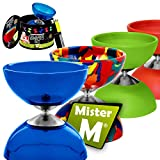 Mister M ✓ Diabolo Medio + Stecche Alluminio (Ripiegabile ) + Video Istruzioni Online / Tutto in Una Box Regalo - L'ultimissimo Set da Giocoliere Diabolo