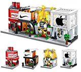 FIFTHMIN 4 Pack Stores City Building Blocks, Building Bricks Party Favors, Educational House Building Kit Birthday Gifts for Kids(503 PCS)