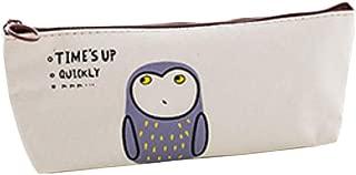 HIKO23 4 Packs Pencil Case Holder,Canvas Designed Cute Animal Zipper Bag Student Pencil Pen Case Box Storage Bag