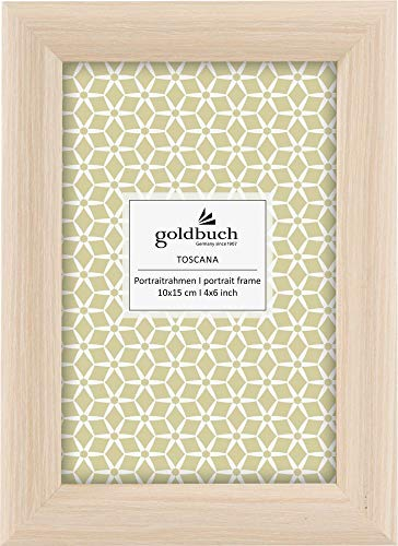 Goldbuch Wooden Toscana Picture Frame for Picture in 10 x 15 cm Format, Portrait Frame with Stand and Wall Mount, Single Frame Made of MDF Photo Frame, Natural, Approx. 13 x 18 x 1.5 cm