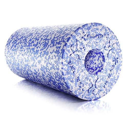 BODYMATE Faszienrolle Weich, Trainingsrolle zur Eigenmassage, Ganzkörper-Massagegerät für Einsteiger, mit glatter Oberfläche, inkl. eBook, 30 x 15 cm (L x Ø), in Blau/Weiß