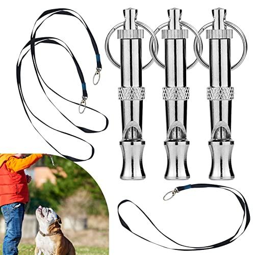 zhpwy Silbato para Perros con Cordón y Llavero Silbatos Antiladridos para Perro Accesorios para Adiestramiento 3 Piezas