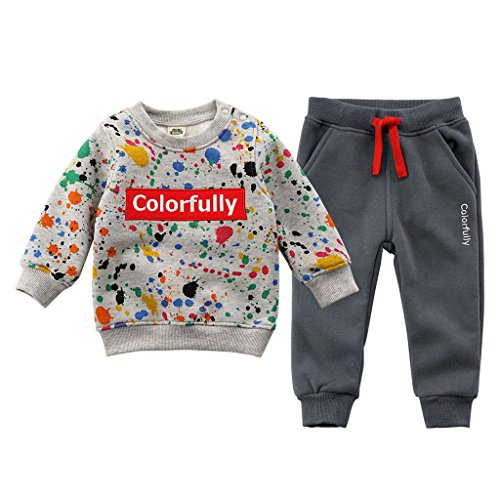 JiAym Baby Kinder Sweatshirt + Hose Set - 2pcs Bekleidungssets Dick Sport Anzüge Unisex Trainingsanzüge 80