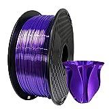Silk Purple PLA 1.75mm 3D Printer Filament 1KG (2.2 LBS ) Shiny Silky Shine Purple 3D Printing Material Dark Violet Purple Color HZST3D