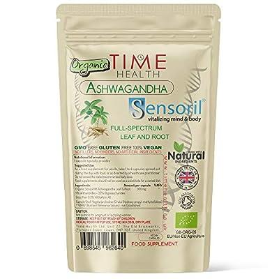 Organic Sensoril® Optimized Ashwagandha - 60 Capsules - 11% Withanolides - Full Spectrum Root and Leaf - Zero Additives - UK Manufactured - Pullulan (60 Capsule Pouch)