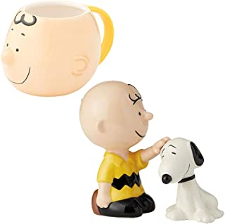 (Set) Peanuts Charlie Brown Petting Snoopy Salt & Pepper Shakers And Mug