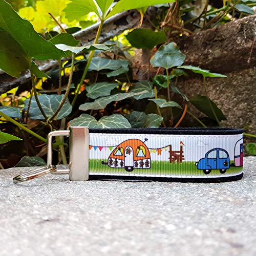 Schlüsselanhänger Schlüsselband Filz schwarz Ripsband Camping Wohnwagen orange grün blau Geschenk!