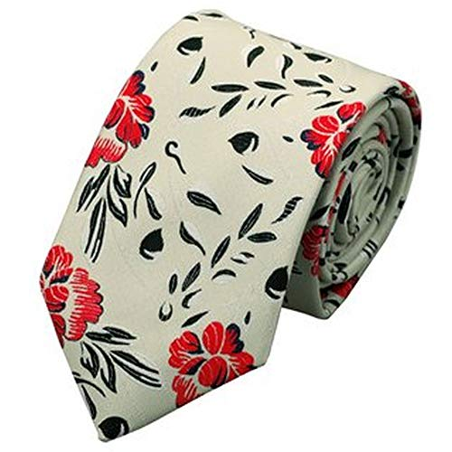 Jason & Vogue Designer Cravate dans beige avec fleurs rouges et de fleurs