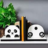 Widdop Buchstützen aus Holz mit Panda-Motiv, für Bücher