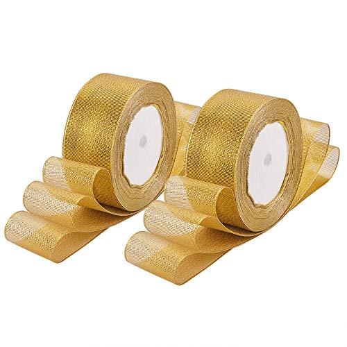 BENECREAT 115m (5 Rollen x 23m) 38mm breit Premium Glitter Metallic Sparkle Stoffband für Hochzeit, Urlaub, Dekoration, Geschenkpapier (Gold)