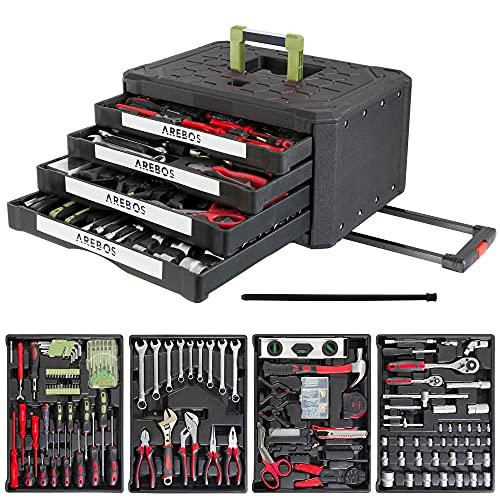 Arebos Werkzeugkoffer bestückt | 300-teilig | 4 Schubladen | Rollkoffer gefüllt mit Werkzeug