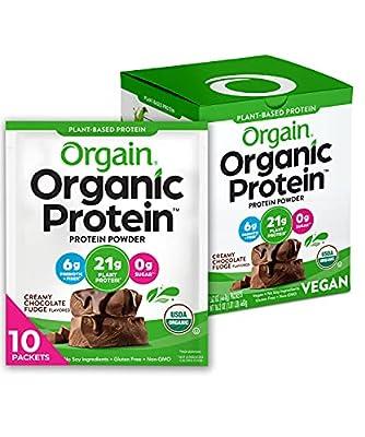 Orgain Organic Plant Based Protein Powder, Vegan, Low Net Carbs, Non Dairy, Gluten Free, No Sugar Added, Soy Free