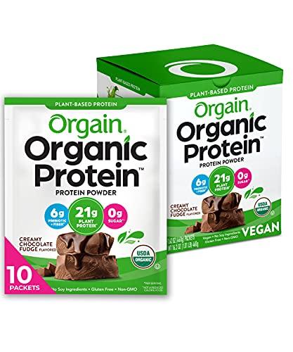Orgain Organic Plant Based Protein Powder Travel Pack, Creamy Chocolate Fudge - 6g of Fiber, No Dairy, Gluten, Soy or Added Sugar, Non-GMO, 10 Count