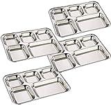 ASP Online Traders Paquete de Acero Inoxidable de 4 Platos para la Cena, 5 Setas de Platos...