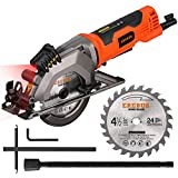 EREBUS,76602L,Circular Saws, 4Amp 3500RPM Mini Circular Saw with Laser Guide, Max. Cutting Depth1-11/16'(90°), 1-1/8'(45°)Compact Saw with 4-1/2' 24T TCT Blade, Vacuum Adapter, Blade Wrench, and Rip G