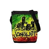Junglist - Borsa a tracolla stampata per tamburo e basso, motivo: bandiera Rasta Jamaica Nero Nero Mini Reporter Bag
