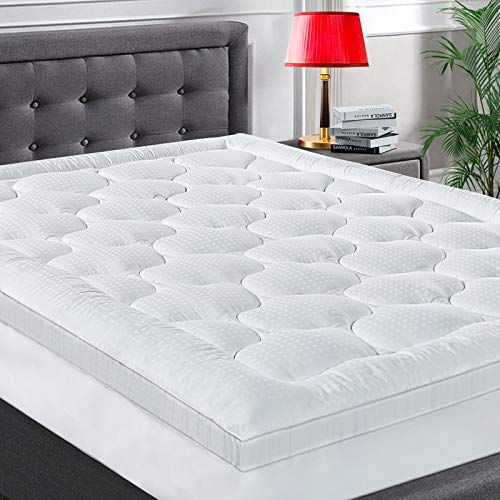 COHOME King Size Mattress Topper Extra Thick Cooling Mattress Pad 400TC Cotton Top Plush Down Alternative Fill Pillow Top Mattress Cover with 8-21 Inch Deep Pocket