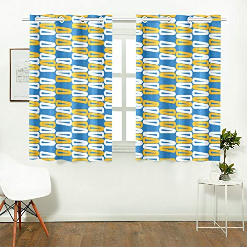 WIEDLKL Kid Curtains for Bedroom Creative White Yellow Geometric Painting Art Best Room Darkening Curtains Living Room Curtains Sheer for Cafe Bath Laundry Living Room 26x39inch 2pieces