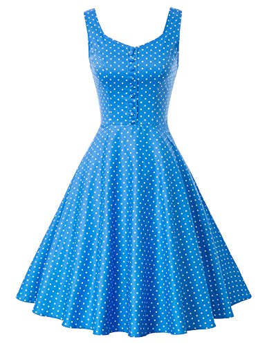 Damen Vintage Retro blau a Linie Kleid Casual Kleid festliches Kleid Homecoming Kleid Größe S BP416-9