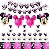 Decoración de Fiesta de Cumpleaños de Minnie Mouse, BESTZY Globos de Cumpleaños Artículos para la fiesta de Minnie Mouse para Baby Shower de Ccumpleaños(Rosa roja)