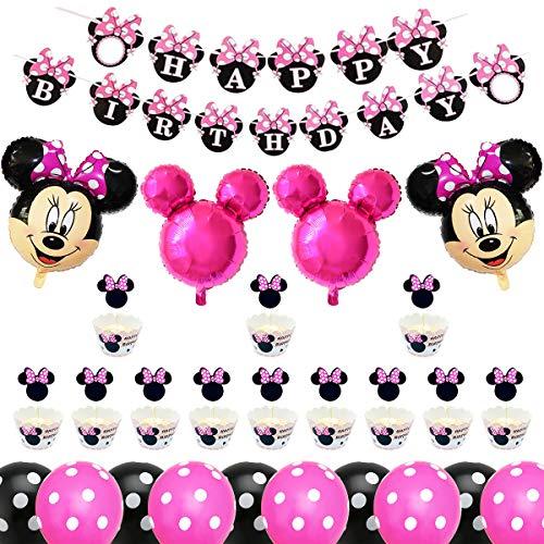 Decoración de Fiesta de Cumpleaños de Minnie, BESTZY Globos de Cumpleaños Artículos para la fiesta de Minnie para Baby Shower de Ccumpleaños(Rosa roja)