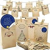 Longzhuo 24 cajas de regalo de cartón de alta calidad, incluye calendario de Adviento para rellenar y hacer uno mismo, bolsas de Adviento para niños y adultos