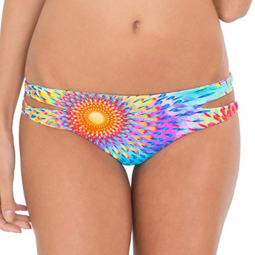 Luli Fama Women's Bajo Un Mismo Sol Zig-Zag Open Side Full Bikini Bottom, Multi, Small