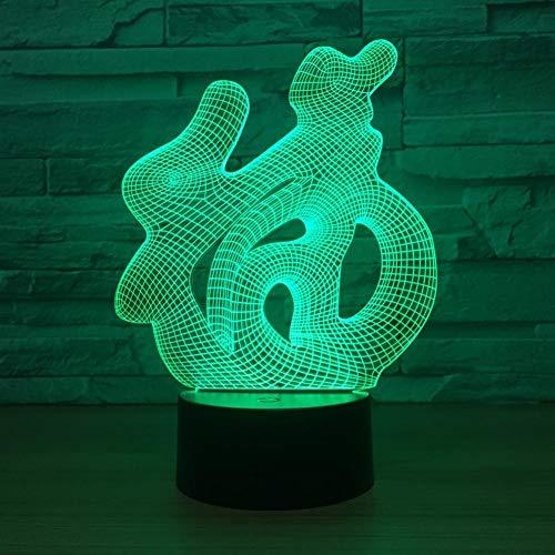 Yujzpl 3D Illusion Lamp Led Night Light, USB Powered 7 colores Intermitente Touch Switch Iluminación para niños Regalo de Navidad[Clase de energía A +++]-China rica