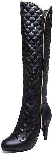ZHRUI Stiefel para damen - Stiefel de Caballero de tacón Fino Stiefel Martin Puntiagudas Stiefel de esquí de tartán de tacón Alto 34-44 (Farbe   schwarz, tamaño   38)