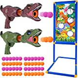 G.C Dinosaur Shooting Game Toys for Kids 5 6 7 8 9 10+ with Shooting Target Stand 2 Popper Air Guns 48 Foam Balls Indoor Outdoor Practice Set Nerf Toy Guns Gift for Boys Girls