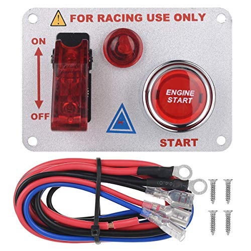 Fanmigo 12V Racing Car Ignition on//Off Switch Panel LED Toggle Engine Start Push Button Starter