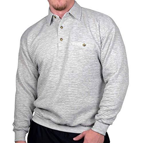 Palmland L/S Solid Textured Banded Bottom Shirt (XLarge) Grey Heather