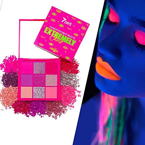 Neon Lidschatten-Palette 9 Farben Party Makeup Pigment UV-Leuchten Fluoreszierender Glitzer Leuchtet im Dunkeln unter Schwarzlicht/Pink Punk | 7DAYS