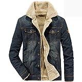 Winter Jacket Men Denim Jacket Coat Male Mens Outwear Thick Warm Fleece Jackets Jaqueta Masculina Big Size M-4XL Jean Jacket,Dark Blue,XXXL