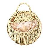 XWU Wall Hanging Fruit Flowers Basket - Wicker Rattan Artificial Flower Basket,Bird's Nest Hand Made Wicker Rattan - Yellow