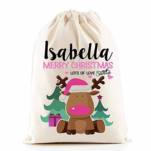 Weihnachtsmann-Geschenkesack, personalisierbar (Rentier, rosa)